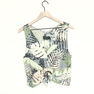 NWT Minkpink Leaf Sleeveless Tie Front Top M